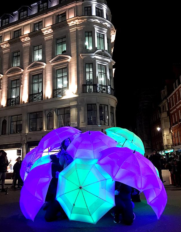 umbrellas on regent street lumiere london wonder london life